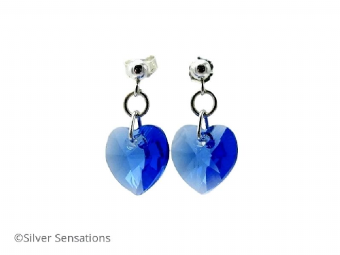 Sapphire Blue Swarovski Heart Crystals & Sterling Silver Elegant Dangly Stud Earrings